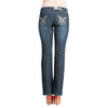Womens Pant Butterfly Rhinestone Studs Dark Wash Denim Boot Cut Jeans Blue