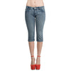 Womens Pant Rhinestone Studs Light Wash Denim Cropped Capri Light Blue