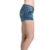 Womens Pant Rhinestone Studs Pocket Denim Shorts Blue