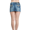 Womens Pant Leopard Print Rhinestone Pocket Denim Skirt Blue