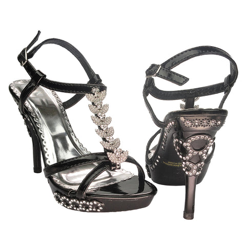 Womens Dress Sandals Angel Wing Rhinestones T Strap High Heel Shoes black