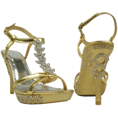 Womens Dress Sandals Angel Wing Rhinestones T Strap High Heel Shoes GOLD
