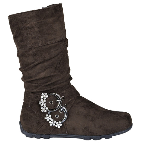 Kids Mid Calf Boots Rhinestone Buckle Accent Casual Comfort Shoes Brown