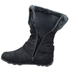 Kids Mid Calf Boots Fur Cuff and Studded Strap Casual Comfort Shoes black