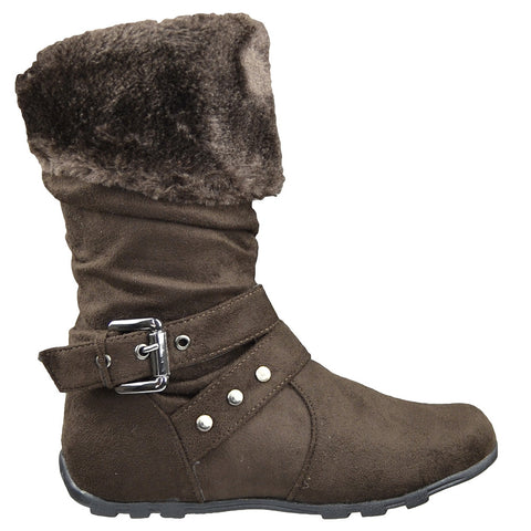 Kids Mid Calf Boots Fur Cuff and Studded Strap Casual Comfort Shoes Brown