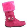 Kids Mid Calf Boots Fur Cuff Heart Buckle Accent Casual Comfort Shoes Pink