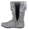 Kids Mid Calf Boots Fur Cuff Heart Buckle Accent Casual Comfort Shoes Gray