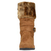 Kids Mid Calf Boots Fur Cuff Heart Buckle Accent Casual Comfort Shoes Tan
