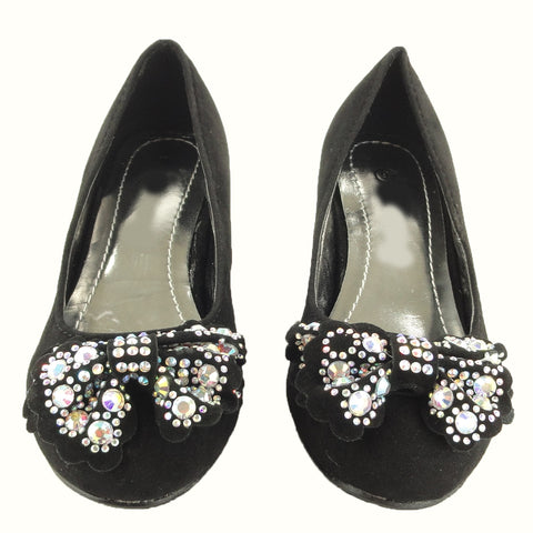 Kids Dress Shoes Suede High Heel Embellished Layered Bows Black