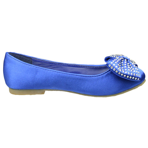 Kids Ballet Flats Satin Slip On Front Bow Embellishment Blue