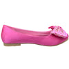 Kids Ballet Flats Satin Slip On Front Bow Embellishment Pink