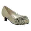 Kids Dress Shoes Embellished Side Bow Dress Pumps Beige
