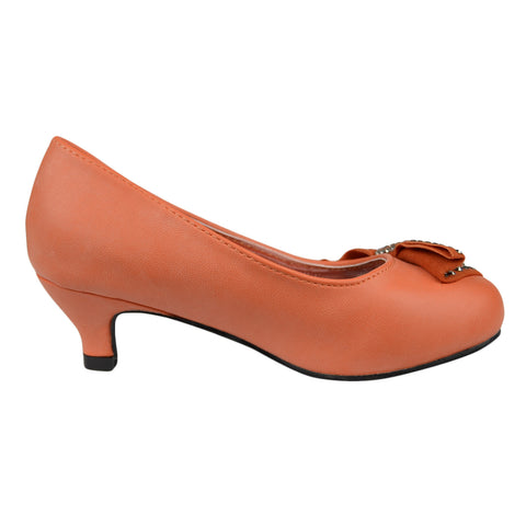 Kids Dress Shoes Embellished Side Bow Dress Pumps Orange