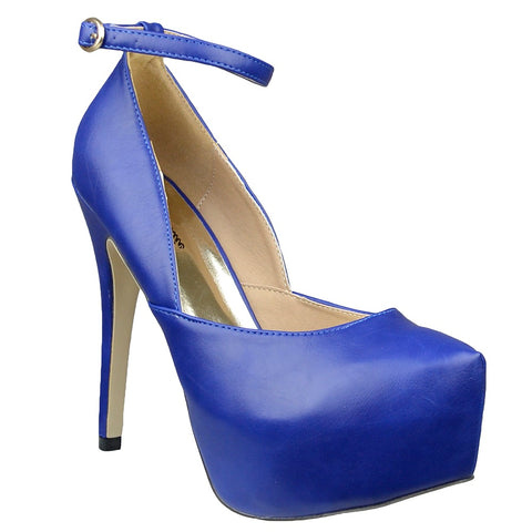 Womens Platform Shoes Sexy Scoop Vamp High Heel Dress Shoes Blue