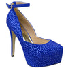 Womens Platform Shoes Sexy Glitter Scoop Vamp High Heel Dress Shoes Blue