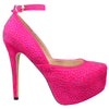 Womens Platform Shoes Sexy Glitter Scoop Vamp High Heel Dress Shoes Pink