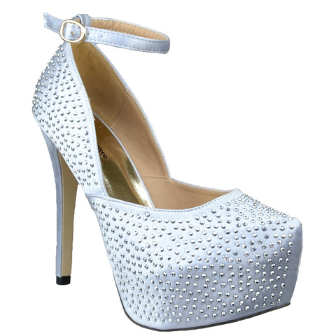 Womens Platform Shoes Sexy Glitter Scoop Vamp High Heel Dress Shoes Silver