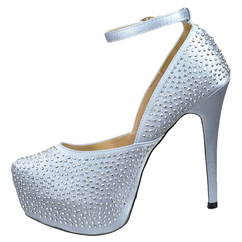 2dc73a2c72c9 Womens Platform Shoes Sexy Glitter Scoop Vamp High Heel Dress Shoes Silver