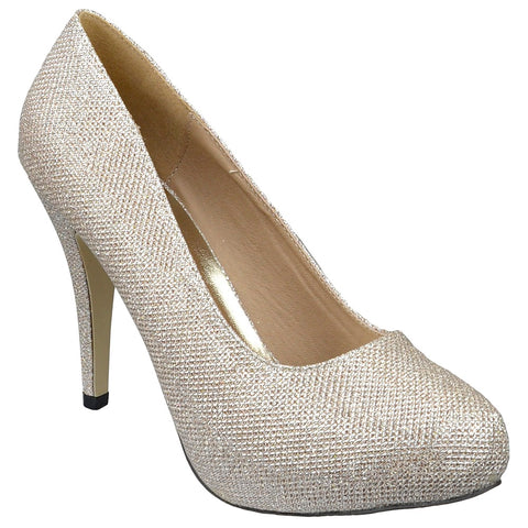 Womens Platform Shoes Glitter High Heel Sexy Stilletto Pumps Gold