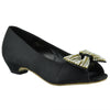 Kids Dress Sandals Peep Toe Ribbon Slip On Dress Shoes black