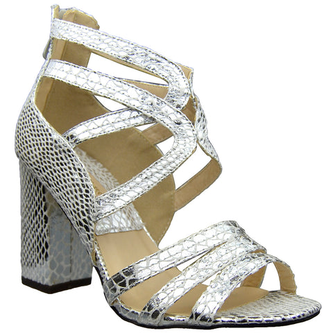 Womens Dress Sandals Snake Print Strappy Sexy High Heels Silver