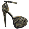 Womens Platform Sandals Studded Peep Toe Cutout High Heel Dress Shoes black