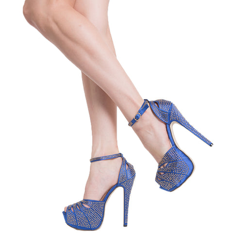 Womens Platform Sandals Studded Peep Toe Cutout High Heel Dress Shoes Blue