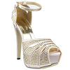 Womens Platform Sandals Studded Peep Toe Cutout High Heel Dress Shoes Champagne