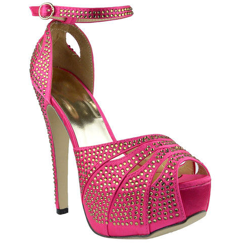 Womens Platform Sandals Studded Peep Toe Cutout High Heel Dress Shoes Pink