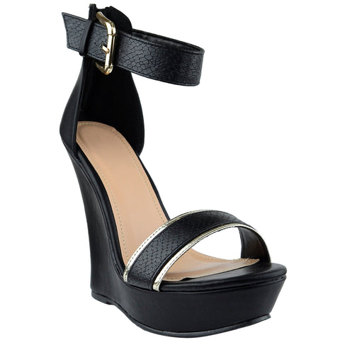 Womens Platform Sandals Two Tone Single Strap High Heel Dress Shoes black