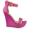 Womens Platform Sandals Two Tone Single Strap High Heel Dress Shoes Pink