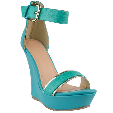 Womens Platform Sandals Two Tone Single Strap High Heel Dress Shoes Green
