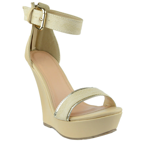 Womens Platform Sandals Two Tone Single Strap High Heel Dress Shoes Nude