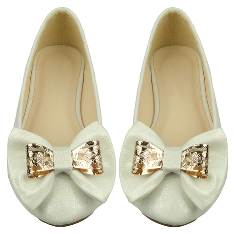 Kids Ballet Flats Glitter Metal Bow Comfort Dress Shoes White