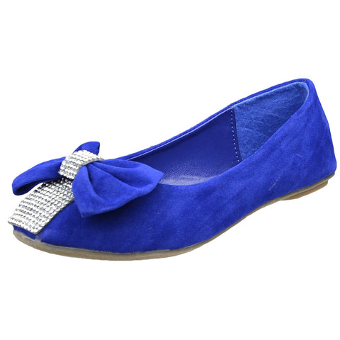 Kids Ballet Flats Rhinestone Embellished Bow Comfort Dress Shoes Blue