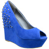 Womens Platform Sandals Suede Peep Toe Spiked Wedge High Heel Shoes Blue