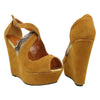 Womens Platform Sandals Suede Snake Print Wrap Wedge Shoes Tan