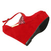 Womens Platform Sandals Suede Snake Print Wrap Wedge Shoes Red