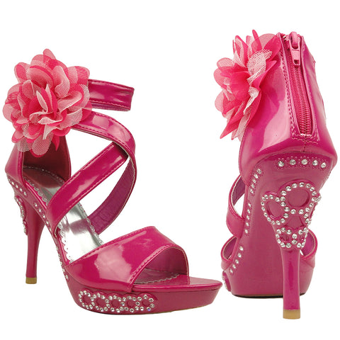 Womens Dress Sandals X-Strap and Tulle Flower Back Zipper Closure Pink