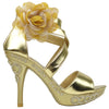 Womens Dress Sandals X-Strap and Tulle Flower Back Zipper Closure Gold