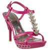 Womens Dress Sandals Angel Wing Rhinestones T Strap High Heel Shoes Pink