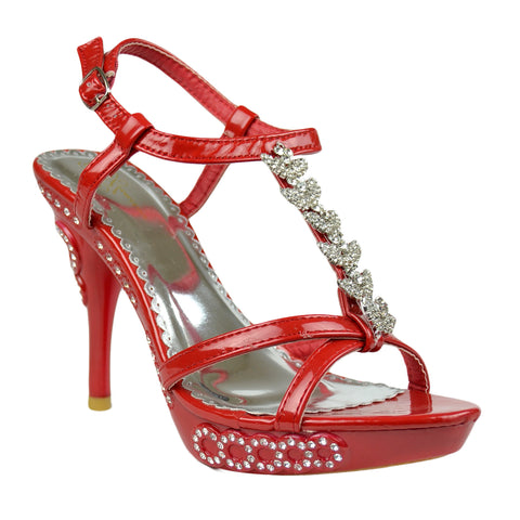 Womens Dress Sandals Angel Wing Rhinestones T Strap High Heel Shoes Red
