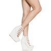 Womens Platform Shoes Stacked Buckle Accents Dress Wedges White
