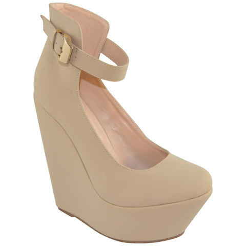 Womens Platform Shoes Ankle Strap Buckle Accent Dress Wedges Nude