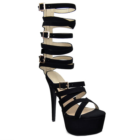 Womens Platform Sandals Gladiator Strappy Buckle High Heel Shoes black