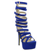 Womens Platform Sandals Gladiator Strappy Buckle High Heel Shoes Blue