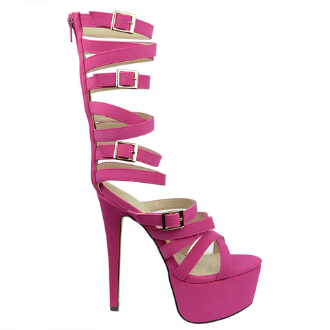 Womens Platform Sandals Gladiator Strappy Buckle High Heel Shoes Pink