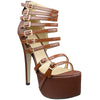 Womens Platform Sandals Strappy Buckle Accents Sexy High Heels Brown