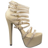 Womens Platform Sandals Strappy Buckle Accents Sexy High Heels Nude