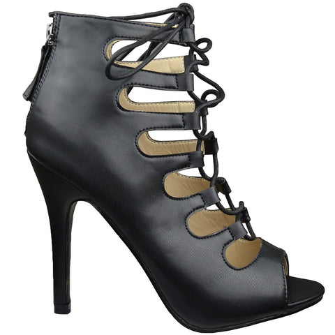Womens Ankle Boots Lace Up Cut Out Sexy High Heels Black